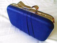 "Precis ""Shimmer Bow"" Navy Clutch Bag"