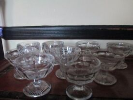 9 VINTAGE GLASS TRIFLE DISHES WITH STEMS,
