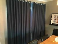 Large teal curtains