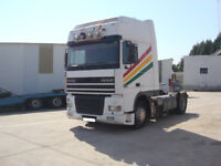 Left hand drive DAF XF 95 430 Super Space Cab tractor unit. Intarder.