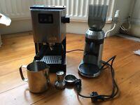 Gaggia classic coffee machine and sunbeam bean grinder - the complete setup