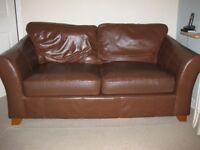 2 x M&S Abbey large brown leather sofas