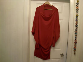 YEST - MODERN STYLE COWELL NECK RED DRESS SIZE 12-14 GOOD CONDITION