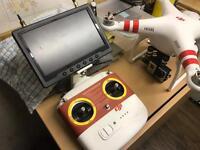 "Dji Phantom 2 Vision Drone Including Go Pro 3 7"" Screen 1 Battery £400 Ono"