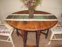 ****SOLD SOLD******Vintage solid oak drop leaf table barley twist legs 2 solid oak chairs