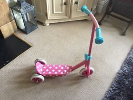 Pink spotty girls scooter from ELC