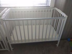 Space Saver Saplings Cot and Mattress - White, used twice