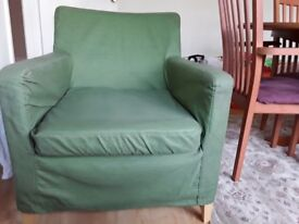 Sage green IKEA armchairs x 2 in good condition