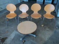 wooden coffe table with four wooden chairs suitable for office or surgery