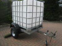 Modified Erde 142 trailer,1000 litre water tank,jockey wheel,road lights.