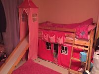 Girls pink midsleeper with slide