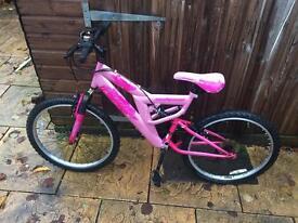 """Girls Full Suspension Bike. Serviced, 24"""" Wheel, 17"""" Frame, Free Lights"""