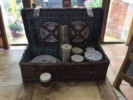 Wicker Picnic Basket with Flask