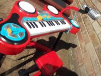 ELC Early Learning Centre Piano Drums Mic Stool electronic keyboard organ Microphone Red Drum set