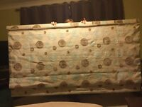 2.06m by 1.13m black out canvas Roman blind with duck egg blue and brown swirl design