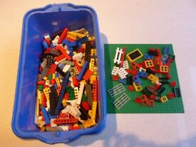 Box of LEGO bricks, baseplate (32x32), house parts