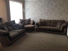 3 Piece Sofa suite - 3 seater, 2 seater and cuddle sofa