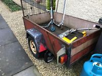 Small Trailer dump runs, shed clearance, garden waiste ladder rack, working lights