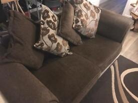 Couch and matching swivel sofa with half crescent pouffe - reduced to clear