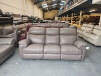 Ex-display Maxwell grey leather manual recliner 3 seater sofa