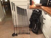 Golf clubs-matching set Slazenger Driver, 3 Wood, Irons, Lob Wedges plus putter, bag, glove-balls