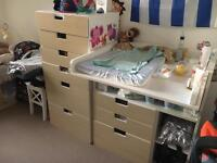ikea baby changeing table and chest of drawers