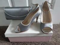 Silver/grey shoes size 4 with matching clutch bag