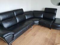 Italian black corner leather sofa