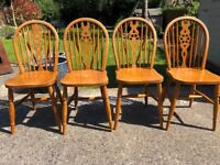 4 Solid Wood Dining Chairs
