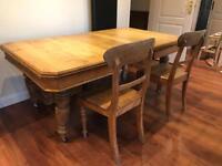 Oak Farmhouse Dining Table & 4 farmhouse chairs