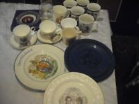 Royal family cups saucers plates glasses etc