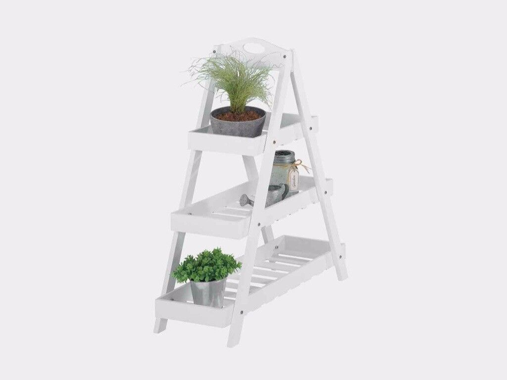 Wooden A-frame 3 Tier White Plant Stand approx. 72cm high | in New ...