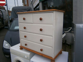 SHABBY CHIC PINE CHEST OF DRAWERS IN YEOVIL