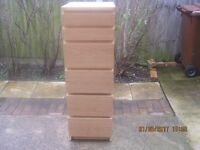 """Chest of 6 drawers with lift up lid and mirror 40cm square(approx 16"""")x123cm high(approx 4')"""