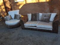 Lovely crushed velvet sofa suite. 2 seater sofa and swivel chair.brown and mink.delivery available