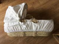 New Mamas and Papas Moses Basket with Duvet