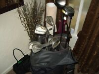 mens ping r/h golf clubs full set bag and trolley