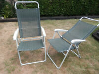 2 x 5 position reclining lightweight camping caravan chairs