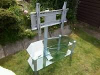 Swivel glass TV stand