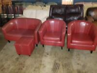Red 2 seater and 2 tub arm chair and foot stool can deliver