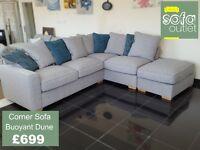 Designer Buoyant Dune Fabric Corner sofa £699