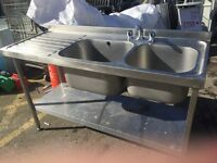1.5 Metre Stainless Steel Double Bowl Sink With Left Sided Drainer