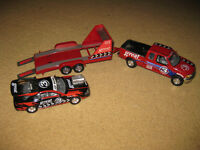 Push-along tow truck and racing car trailer with car