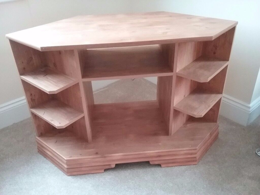 Oak TV stand corner unit
