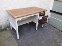 Solid pine desk with 2 drawers and filing shelf