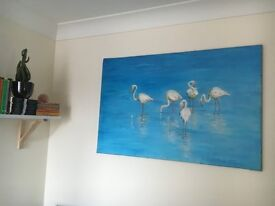 Large Tropical pelican oil painting £40