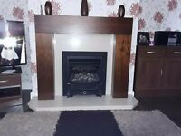 Marble back plate and hearth with walnut surround