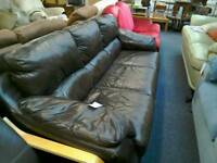 Brown leather 3 seater sofa £30 #29768