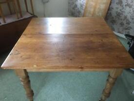 Antique Pine Square Extendable Table