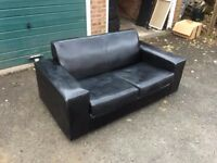 2 Seater Black Leather Sofa £35ono Collection Only